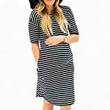 Pregnants Dress,Han Shi Fashion Womens O Neck Stripe Nursing Maternity Soft Gown (Black, S)