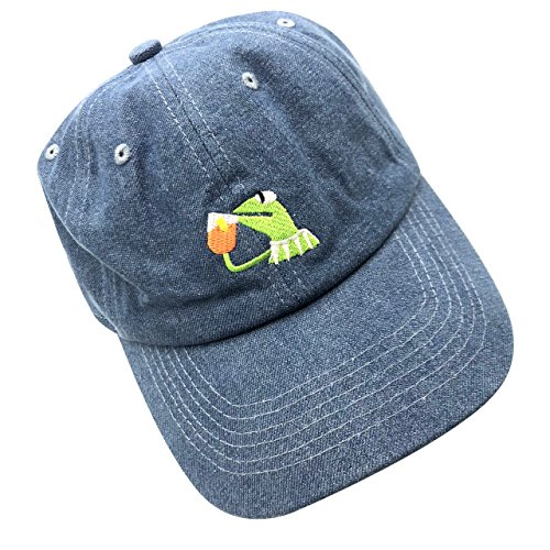 b2ccd9d004757 Kermit The Frog Dad Hat Baseball Cap Sipping Sips Drinking Tea Champion  Adjustable Blue - Buy Online in Oman.