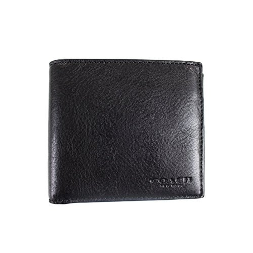 (COACH DOUBLE BILLFOLD SPORT CALF LEATHER, F75084 (Black))