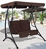 K&A Company Swing Chair Canopy Patio 2 Person Outdoor Furniture Porch Seat Hammock Yard Garden Steel Loveseat Bench Cushioned Brown