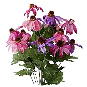 Factory Direct Craft Colorful Pink and Purple Poly Silk Coneflower Floral Bush | for Indoor Decor 54