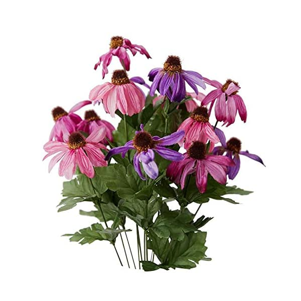 Factory Direct Craft Colorful Pink and Purple Poly Silk Coneflower Floral Bush | for Indoor Decor