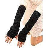 FUNOC Women Winter Warm Fingerless Knitted Long Gloves Mitten Wrist Arm Hand Warmer