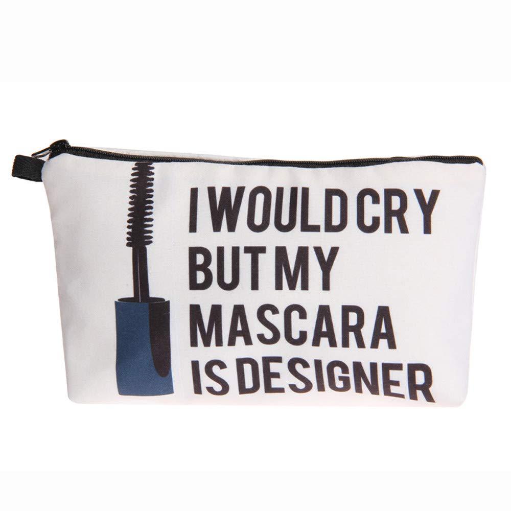 Tpingfe Women Letters Printing Makeup Cosmetic Bag Toiletry Storage Travel Wash Handbag (B)