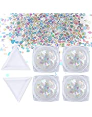 QIMYAR Nail Art Glitter Sequin Mixed Shape Colorful Flakies Tips 3D Manicure Decoration 4 Boxes With Two Trays
