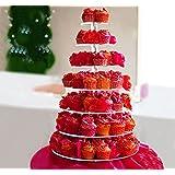 HomCom 7 Tier Cupcake Stand Circle Acrylic Wedding Party Cake Stand Bakeware, Transparent