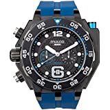 Mulco Buzo Helio Quartz Swiss Chronograph Movement Men's Watch | Premium Analog Display with Steel Accents | Silicone Watch Band | Water Resistant Stainless Steel Watch | Black Ion-Plated (Blue)