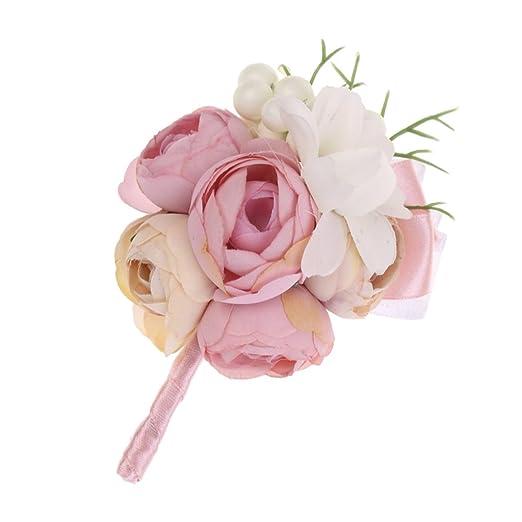 MagiDeal Corsage de Flores Artificiales con Perla Artificial ...