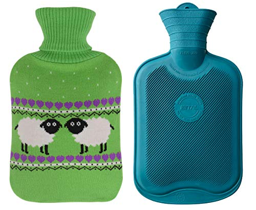 er Hot Water Bottle and Cute Animal Embroidery Knit Cover (2L, Jasper/Green with Sheep) ()