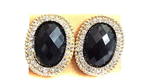 Clip on Earrings Oval Assorted Colors Crystal Lined Earrings 1.25 inch (Black)