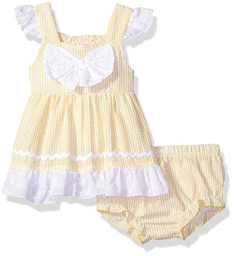 Girls Seersucker Dress - Baby Essentials Baby Girls' Seersucker Dress and Diaper Cover, Yellow, 6 Months