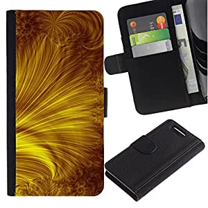 UberTech / Sony Xperia Z1 Compact D5503 / Sun Yellow Gold Rays Abstract / Cuero PU Delgado caso Billetera cubierta Shell Armor Funda Case Cover Wallet Credit Card