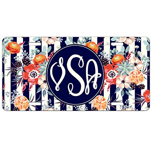 Simply Customized Personalized License Plate Monogram Stripes Floral Flowers License Plate Car Auto Tag Aluminum PLP (Flower License Plates)