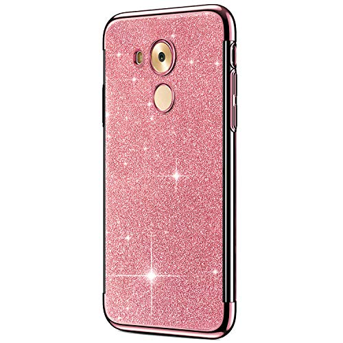 ikasus Case for Huawei Mate 8 Case Girls Sparkly Shiny Glitter Bling Powder Diamond Paillette Card & Plating Bumper Slim Flexible Soft Rubber Gel TPU Protective Case Cover for Huawei Mate 8,Rose Gold ()