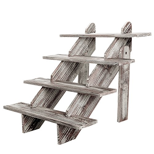 4-Tier Rustic Weathered Wood Retail Display Riser, Decorative Merchandise Stand, Brown