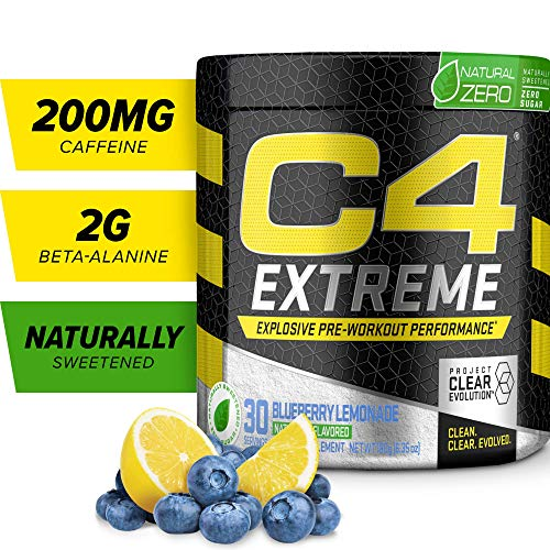 C4 Extreme Natural Zero Pre Workout Powder Blueberry Lemonade | Natural Flavored Sugar Free Preworkout Energy Supplement for Men & Women | 200mg Caffeine + Beta Alanine + Creatine | 30 Servings (Creatine Blueberry)