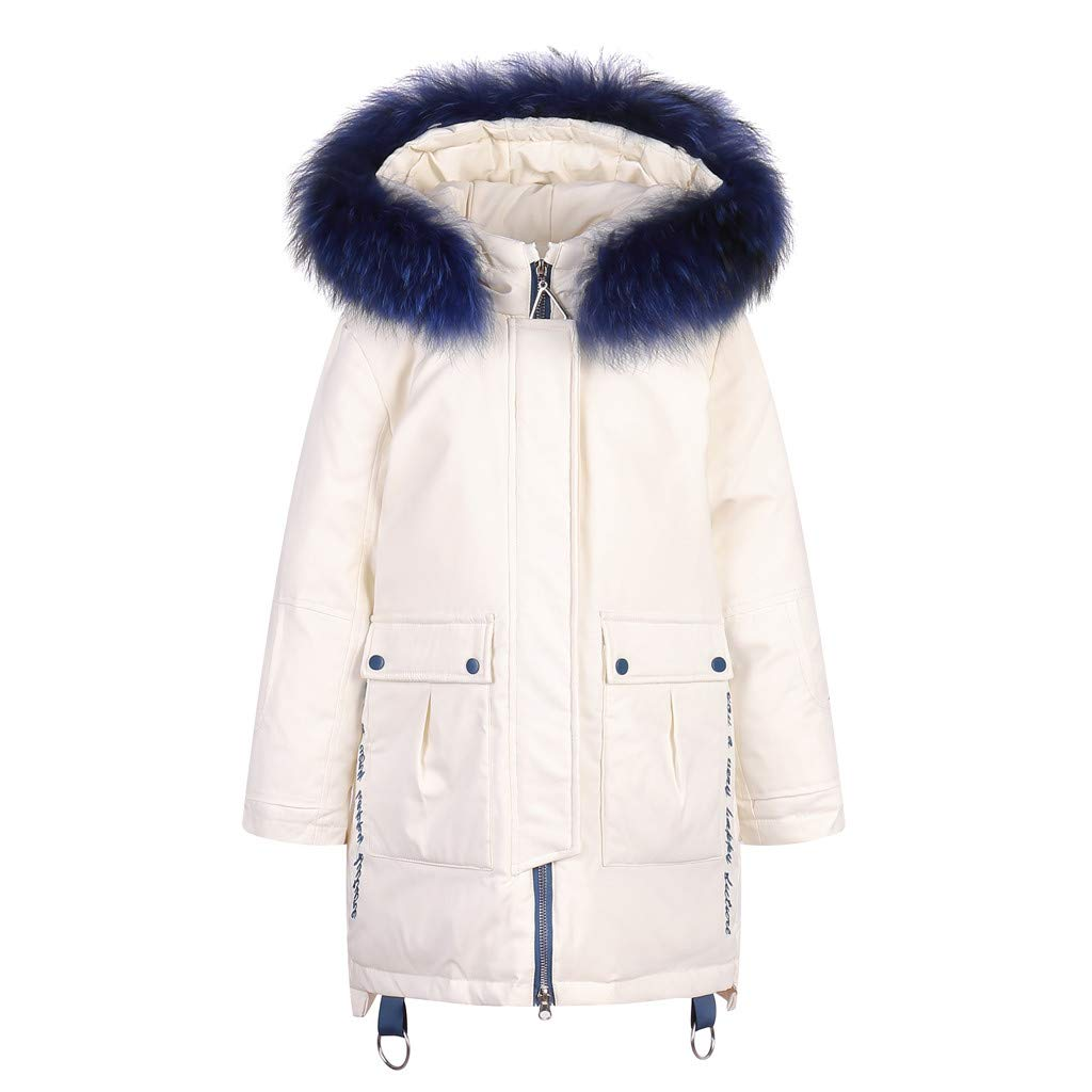 Yuege Baby Clothes Girls' Puffer Down Coat Winter Jacket Parka Down Coat Overcoat with Fur Hood White by Yuege Baby Clothes