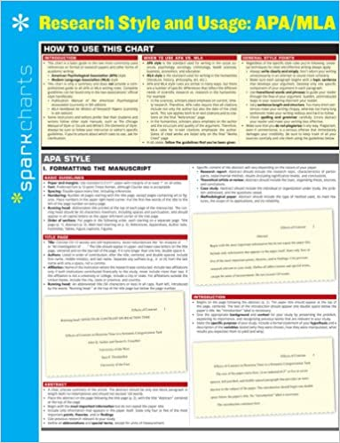 research style usage apa mla sparkcharts sparknotes