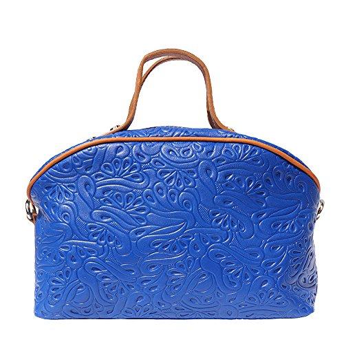 Leather Makeup Bag with Long Strap 301 (Light blue-tan)