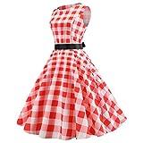1950s Vintage Dresses, Women Pumpkin Bodycon Sleeveless Prom Evening Party Swing Dress with Belt Suncatcher (XL, Pink#1)