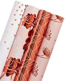 WRAPAHOLIC Gift Wrapping Paper Roll - Rose Gold Floral, Dandelion, Lines and Polka Dots for Wedding, Birthday, Baby Shower Gift Wrap - 4 Rolls - 30 inch X 120 inch Per Roll: more info