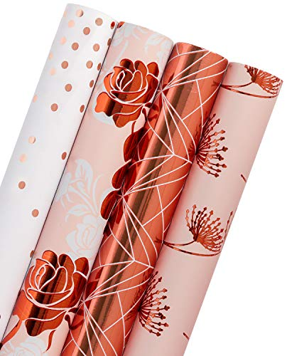 WRAPAHOLIC Gift Wrapping Paper Roll – Rose Gold Floral, Dandelion, Lines and Polka Dots for Wedding, Birthday, Baby Shower Gift Wrap – 4 Rolls – 30 inch X 120 inch Per Roll