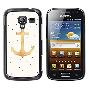 LECELL--Funda protectora / Cubierta / Piel For Samsung Galaxy Ace 2 I8160 Ace II X S7560M -- Dot Gold Anchor Sailor Boat Captain --