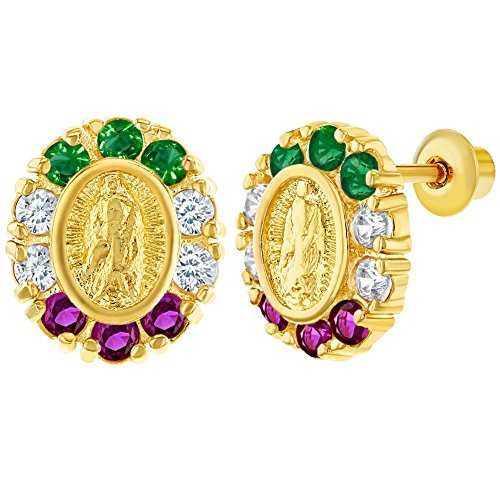 18k Gold Plated Virgin Mary Lady of Guadalupe Screw Back Earrings for Kids