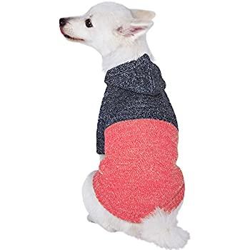 """Blueberry Pet Winter Symphony Marled Color-Block Knitted Unisex Designer Hooded Dog Sweater, Back Length 12"""", Pack of 1 Clothes for Dogs"""