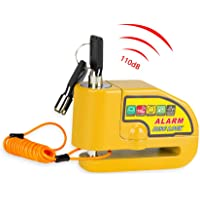 Candado Moto, Alarma Antirrobo 110dB,Cerradura con Alarm,Candado de Disco de Moto con 1.5M Cable,Alarm Lock para Motos…