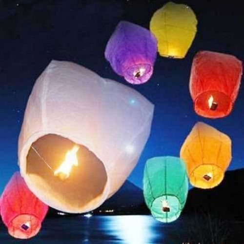 100×wishing Lanterns Chinese paper sky candle wedding flying Party lamp 8 Color (white) by kwanchan