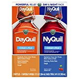 Vicks NyQuil and DayQuil Cough Cold and Flu Relief Liquid, 12 Fl Oz, Pack of 2 - Relieves Headache, Fever, Sore Throat, Minor Aches & Pains