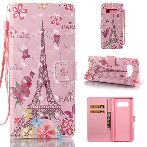 Tower Note (Galaxy Note 8 Wallet Case,HAOTP 3D Beauty Luxury Fashion PU Flip Stand Credit Card ID Holders Wallet Leather Case Cover for Samsung Galaxy Note 8 2017 - Pink Paris Tower)