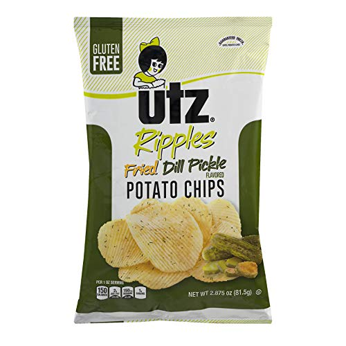 UTZ Ripples Fried Dill Pickle Potato Chips 2.875 oz Bags - Pack of 14 (Fried Potato Chips)