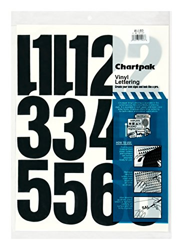 Chartpak Self-Adhesive Vinyl Numbers, 4 Inches High, Black, 23 per Pack (01193) ()