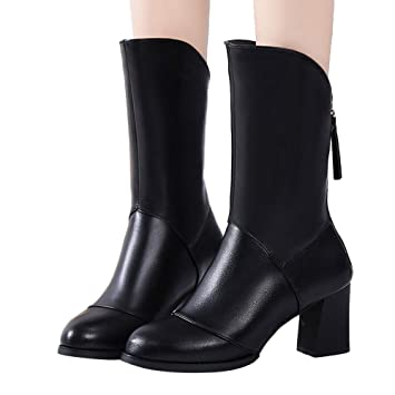 ba557cbe384 Besde Women s Fashion Leather  Classic T-Strap Platform Square Mid-Heel   Boot