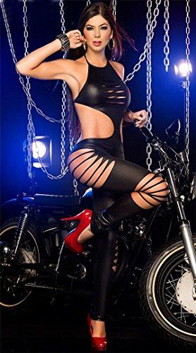 XSQR Femme Cuir PVC Latex Combinaison Sexy Catsuit Cosplay Creux Costume De Catwoman Bodysuit Lingerie Black