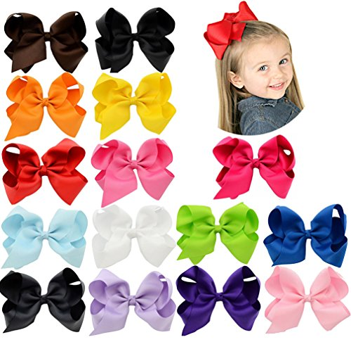 Yhxx Ylen 6Inch Large Solid Grosgrain Ribbon Hair Bows With Alligator Clips For Teens Kids Set Of 15 Color
