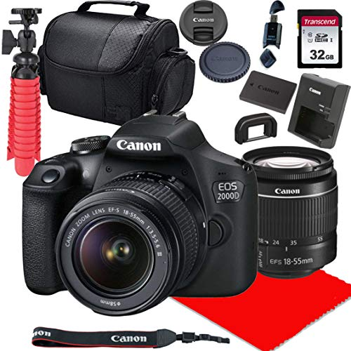 Canon EOS 2000D / Rebel T7 DSLR Camera w/ 18-55mm F/3.5-5.6 III Lens + 32GB SD Card + More