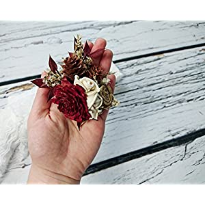 Ivory Brown Burgundy Gold Rustic Wedding Brooch Corsage Sola Flowers Cedar Rose Burlap 44