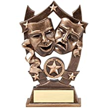Decade Awards 3D Gold Sports Stars Best Actor Actress Award - 6 Inch Tall - Star Drama Trophy - Customize Now - Personalized Engraved Plate Included and Attached to Award - Hand Painted Design
