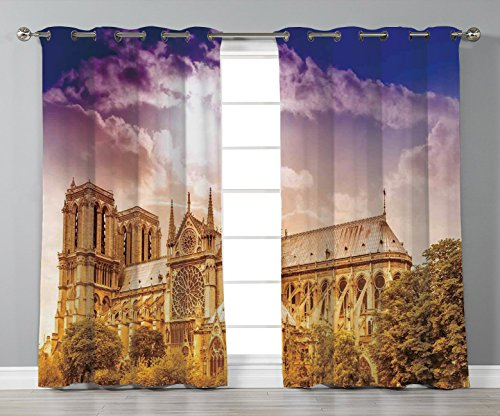 iPrint Stylish Window Curtains,Paris Decor,Notre Dame Cathedral Paris Parisian Gothic Trees Forest Sunshines Cloudy Sky,2 Panel Set Window Drapes,for Living Room Bedroom Kitchen Cafe -