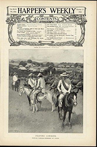 Filipino Cowboys Carabao Herders Luzon Horses nice 1900 scarce vintage print -
