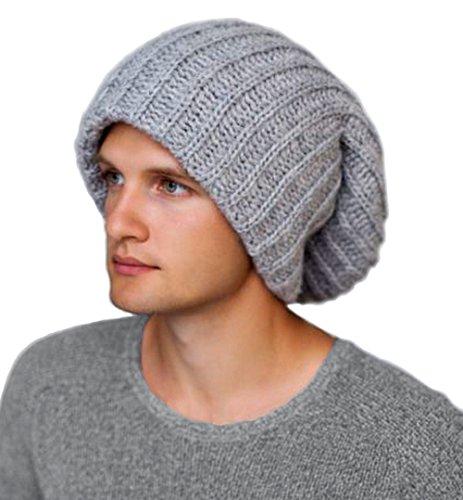 Winter Hats for dreads-Oversized Chunky Knit Slouchy Beanie- Dreadlocks hat-(Light (Beanie With Dreadlocks)