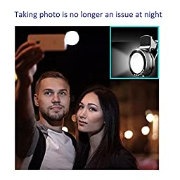 Cyxus [Adjustable 3 Stages Brightness] Round Spotlight (Clip to Phone) Portable Mini Spot Selfie Flash 9 LEDS Night Light for Any Cell Apple iPhone 6s/6 Plus (Black)