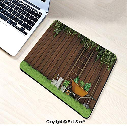 (Personalized 3D Mouse Pad Gardening Material Tools on The Backyard with Shovel and Bucket Print for Laptop Desktop(W7.8xL9.45))