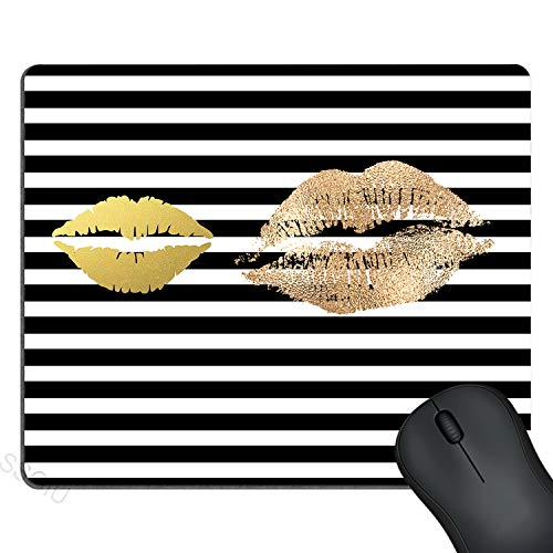 (SSOIU Gaming Mouse Pad Custom, Creative Faux Gold Paint Lips Kiss On Black and White Stripes, Personalized Design 9.5 X 7.9 Inch (240mmX200mmX3mm))