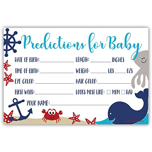 Nautical Whale Baby Shower Predictions Cards (50 Count) ()