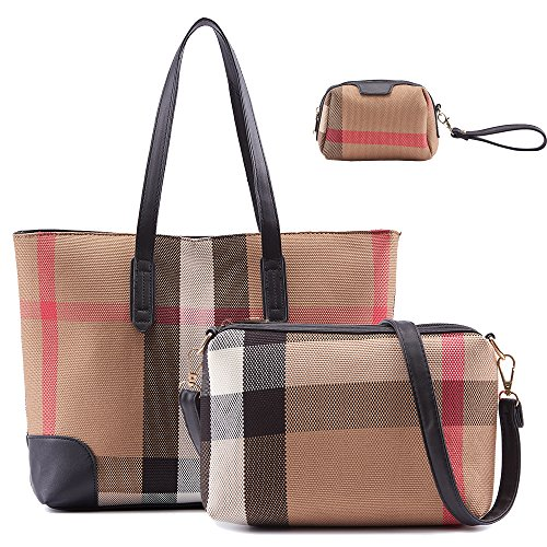 Celaine-Womens-Handbags-Trendy-Plaid-Faux-Leather-Elbow-Shoulder-Bag-Purse-Makeup-Bag-Tote-3-in-1-Set