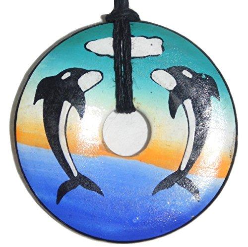 Handmade & Handpainted Ceramic Donut Shaped Pendant - Killer Whales design - 1.54 inches - Cuzco Ceramic